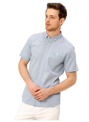 LC Waikiki Slim Fit Kısa Kollu Gömlek Mavi